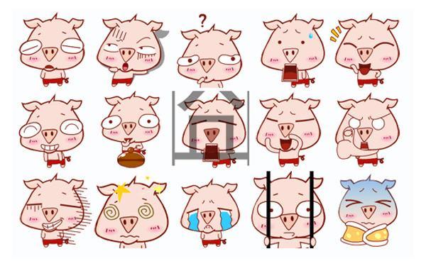 顽皮猪动态表情图卡通包表情微信图片