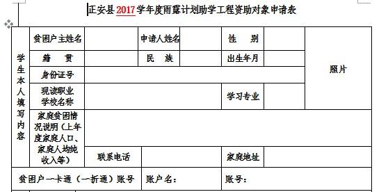 雨露计划助学工程资助申请表