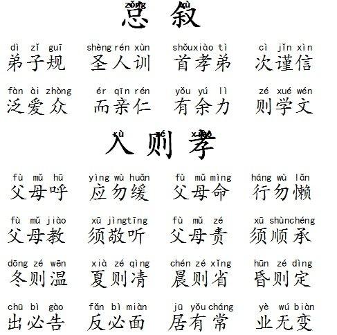 弟子规全文拼音打印版