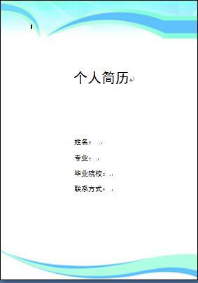 个人简历黑白封面模板 word格式