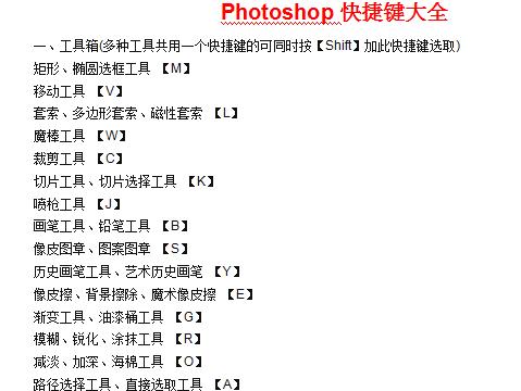 Photoshop常用快捷键大全 完整版0