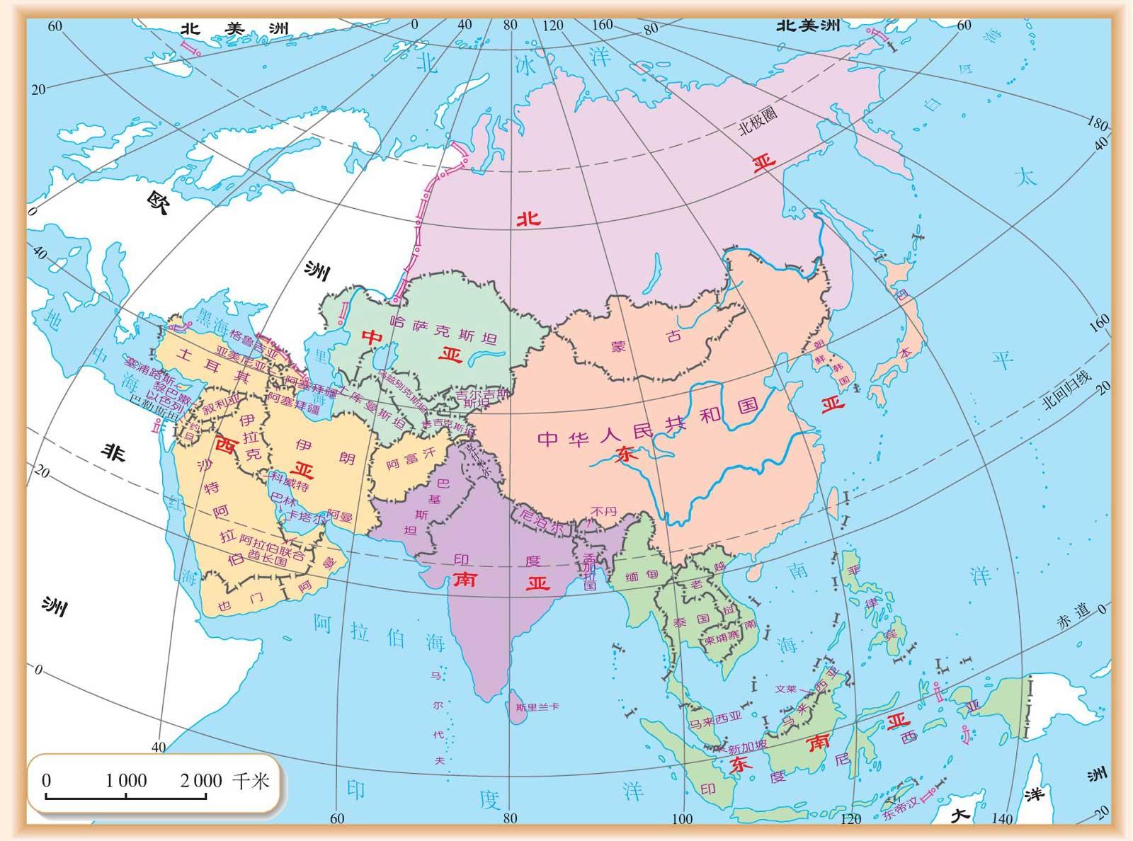 沙特阿拉伯国家地图_亚洲地图中文版全图下载-亚洲地图高清版大图下载完整电子版-当 ...