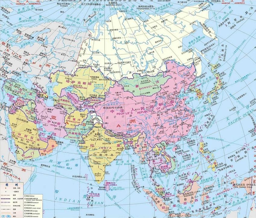 亚洲地图高清版大图 完整电子版 0