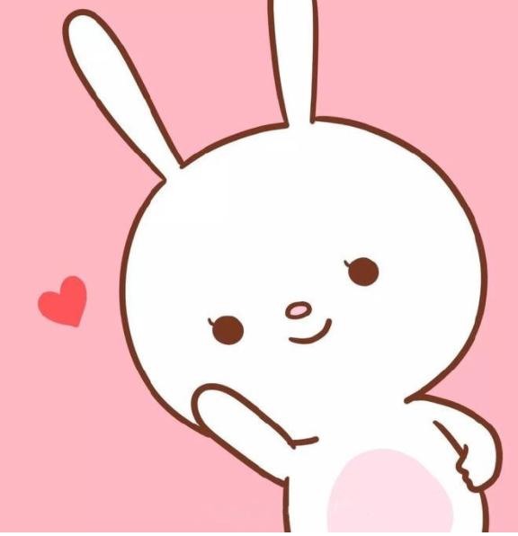 可爱大兔子小表情qq黑白贴图脑袋地毯相间图片