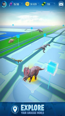 基于位置的技术,探索世界,发现在地图上的恐龙.