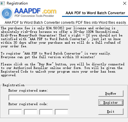 aaa pdf to word batch converter(pdf转word工具) v2.0 绿色版 1