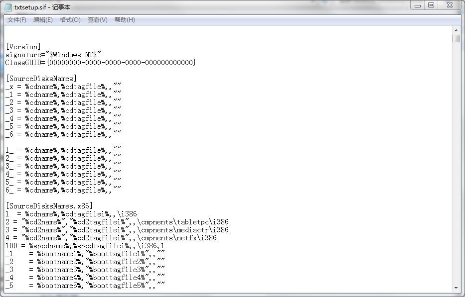 txtsetup.sif文件 免费版 0