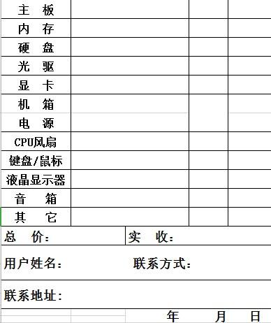 电脑配置清单表格