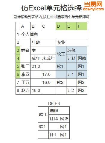 仿Excel表格选中变色效果(jQuery)