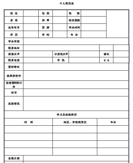 职业目标规划_个人简历模板空白表格下载-个人简历模板空白表格免费版下载 ...