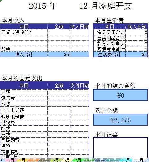 家庭理财表格记账模板