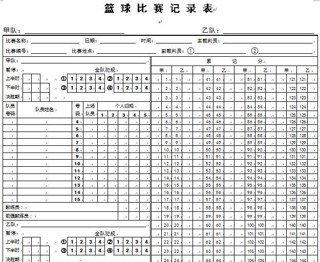 篮球比赛记录表模板
