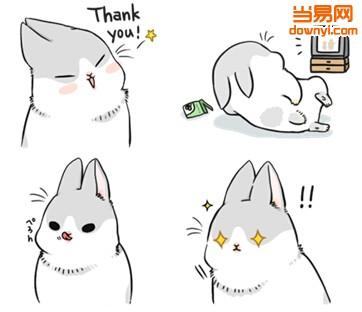 两眼冒金星表情包_一只近似于素描的兔子,表情有:thank you,看电视,h370,眼冒金星,go,不