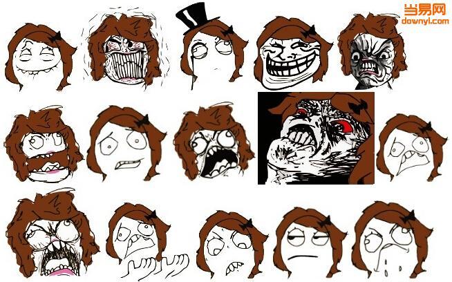 喵尼美暴走漫画qq表情包第二季,棕色头发,长得比较丑,表情有呲牙,怒