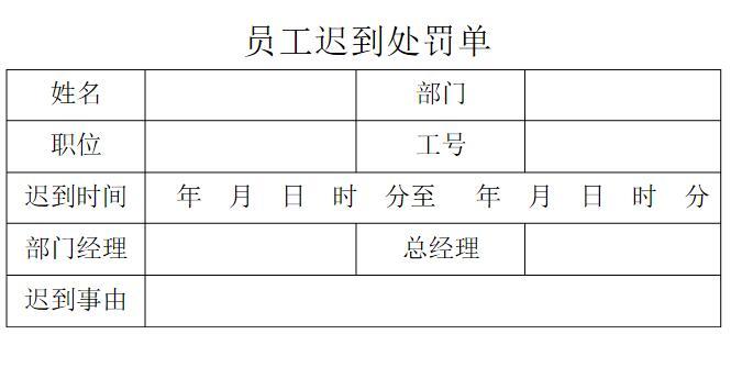 公司罚款表格_公司员工上班迟到罚款单表格模板下载当易网